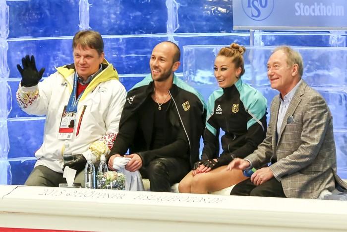 Nelli ZHIGANSHINA , Alexander GAZSI  (GER), Coach Rostislav Sinicyn, Martin Skotnicky