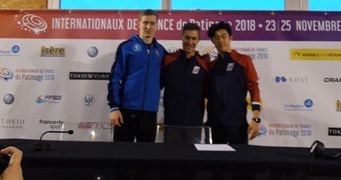 Die drei führenden nach dem Kurzprogramm (Bild: René Müller)