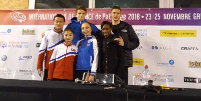 Die drei erstplatzierten nach dem Paarlaufkurzprogramm (Bild: René Müller)