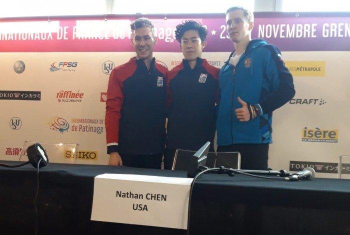 Pressekonferenz vom zweiten Wettkampftag, Sieger Herren: N.Chen vor J. Brown und A.Samarin (Bild: René Müller)